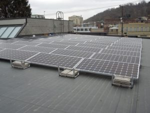 Solar panels on the roof of the Catholic Charities Neighborhood Center